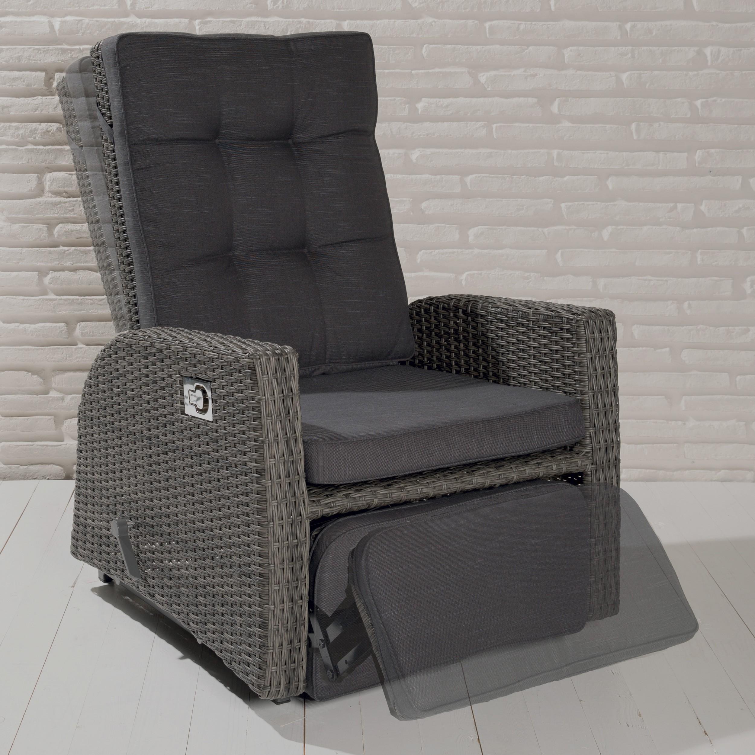 VIP Gartensessel Barcelona Grau Mix Sessel Polyrattan Living Sessel  Relaxsessel | EBay
