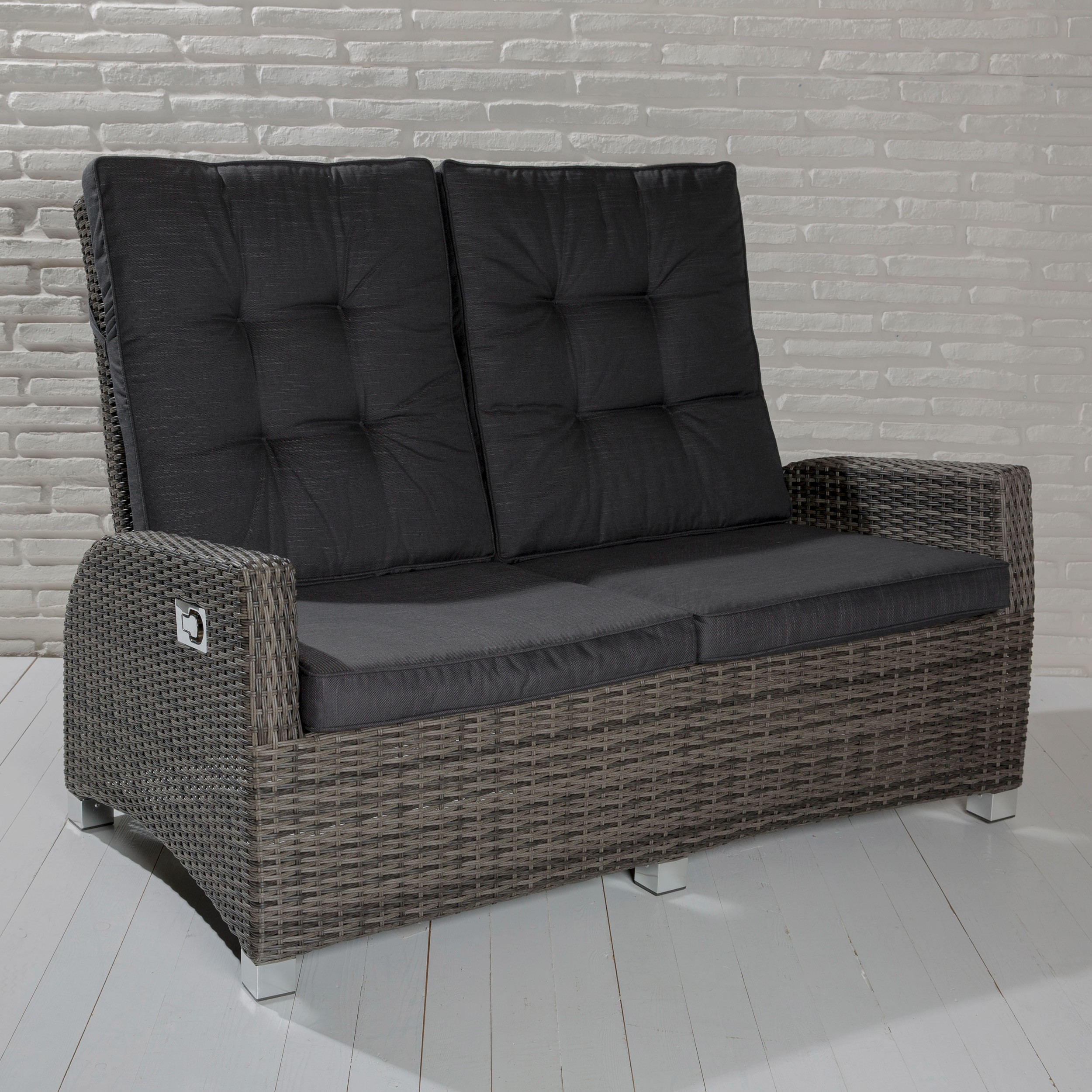 2 sitzer gartensofa barcelona grau mix loungesofa sofa gartenm bel living sofa ebay. Black Bedroom Furniture Sets. Home Design Ideas