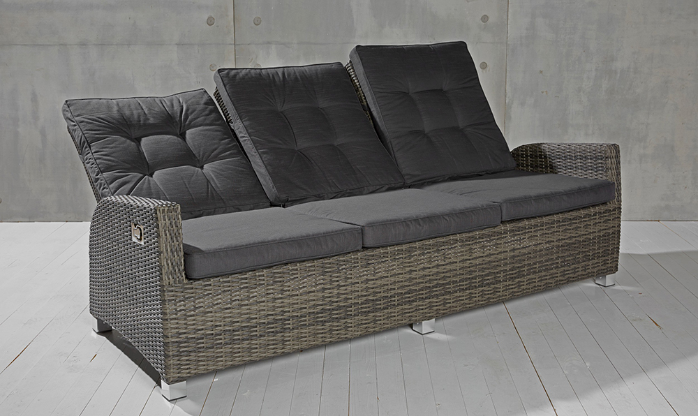 3 sitzer gartensofa barcelona grau mix loungesofa sofa gartenm bel living sofa 634480555776 ebay. Black Bedroom Furniture Sets. Home Design Ideas
