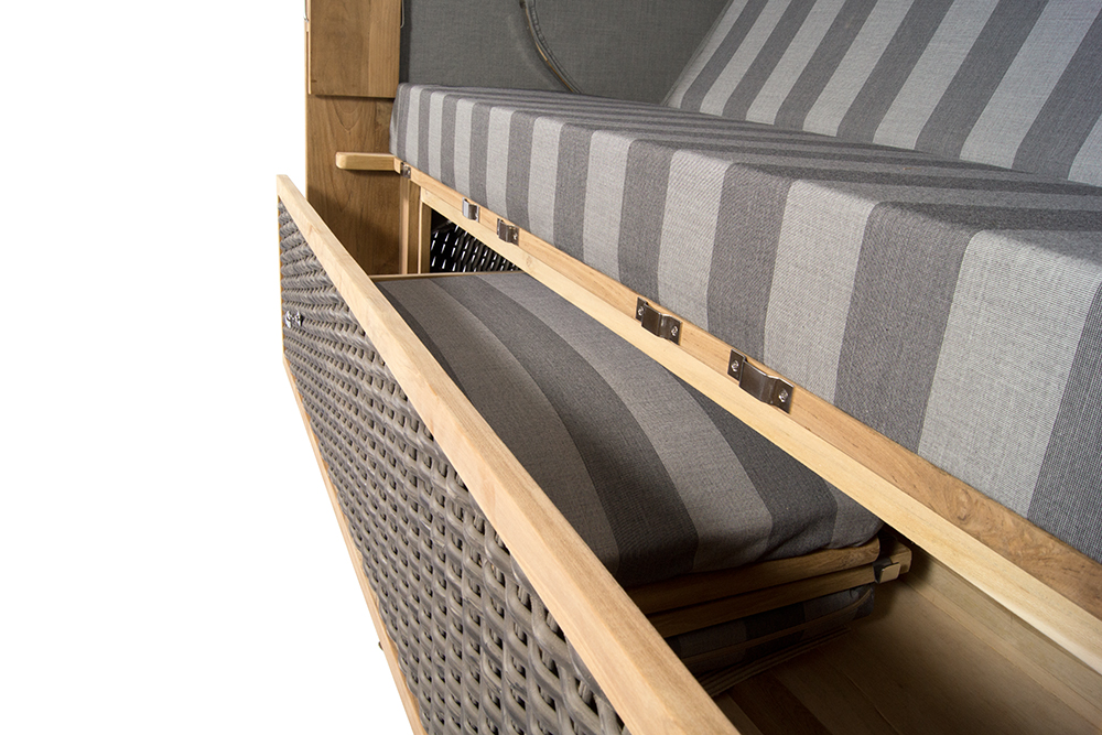 strandkorb kampen spezial 3 sitzer mocca duo pe polyrattan volllieger teakholz 634480556209 ebay. Black Bedroom Furniture Sets. Home Design Ideas