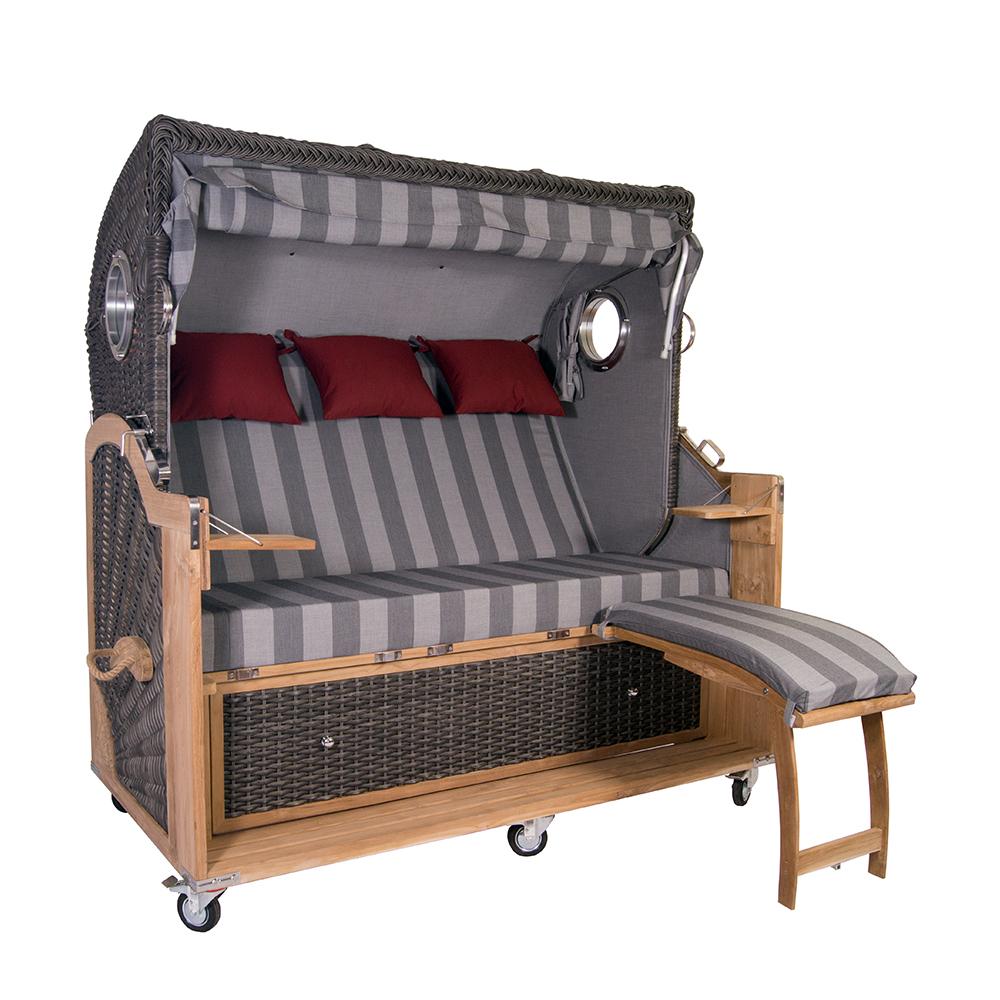 strandkorb kampen spezial 3 sitzer mocca duo pe polyrattan volllieger teakholz ebay. Black Bedroom Furniture Sets. Home Design Ideas