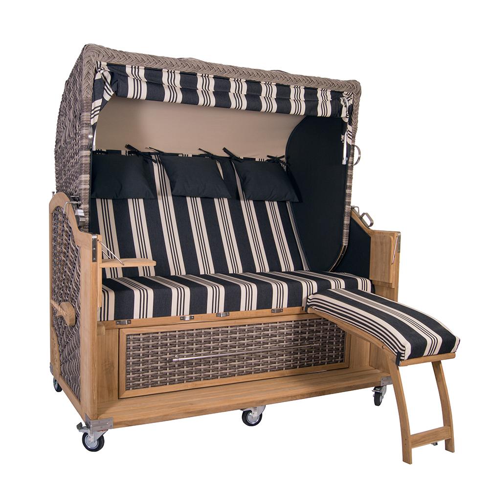 strandkorb kampen 3 sitzer white oak pe polyrattan volllieger teak teakholz holz ebay. Black Bedroom Furniture Sets. Home Design Ideas