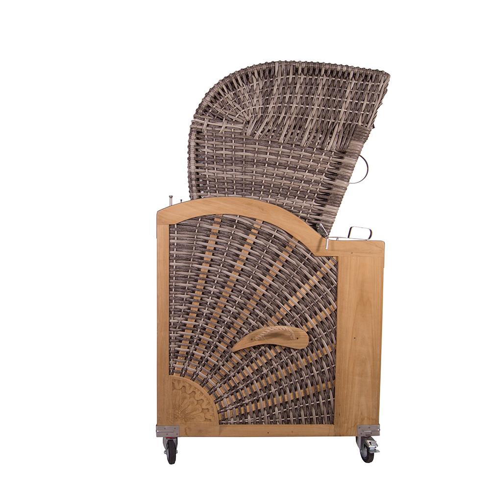 strandkorb kampen 3 sitzer white oak pe polyrattan volllieger teak teakholz holz 634480556070 ebay. Black Bedroom Furniture Sets. Home Design Ideas