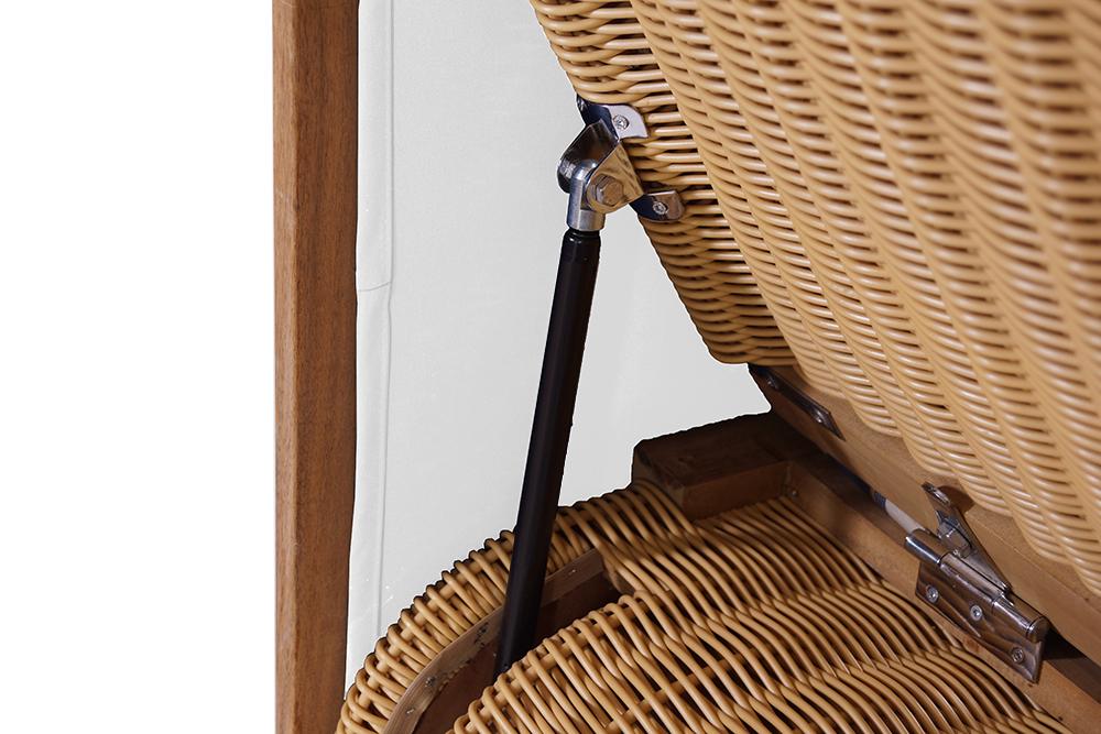 strandkorb kampen 2 5 sitzer banana pe polyrattan volllieger teak teakholz holz 634480556032 ebay. Black Bedroom Furniture Sets. Home Design Ideas