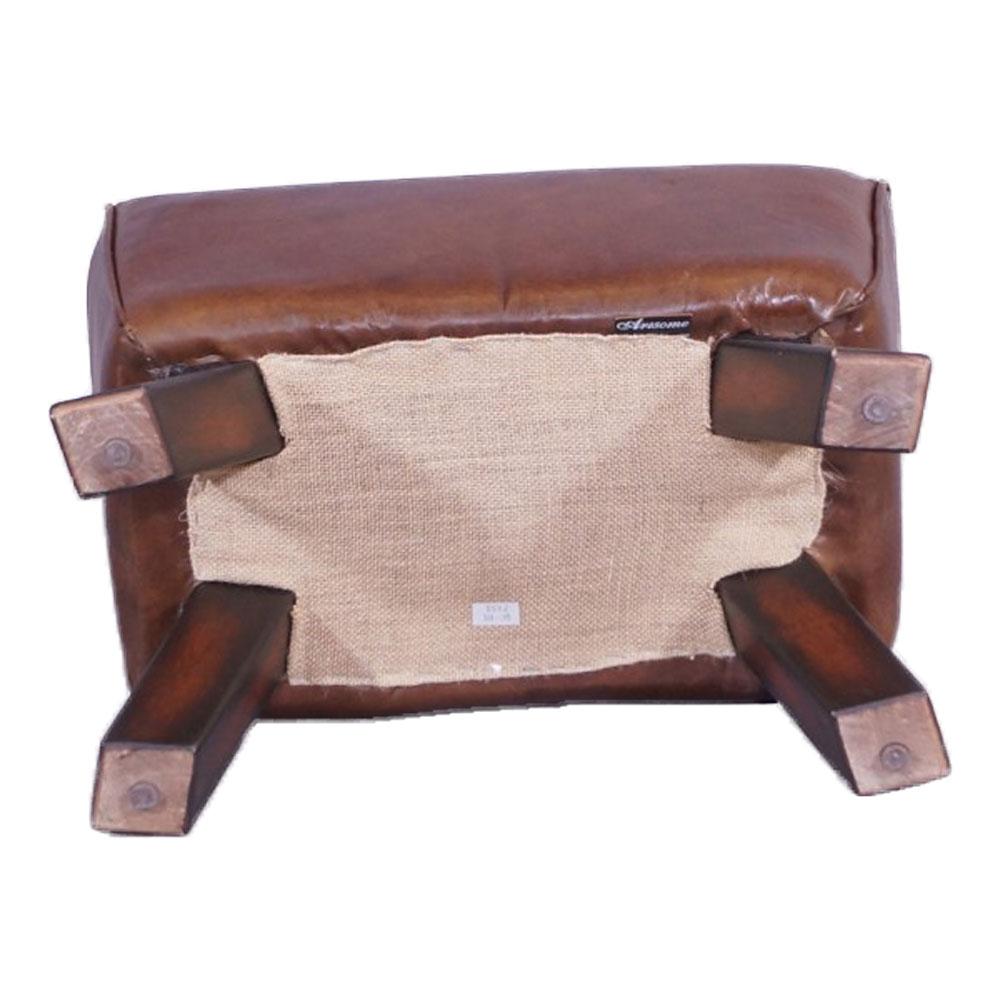 Derry CB Fußhocker hellbraun Vintage Leder Hocker Lederhocker Möbel Repro NEU