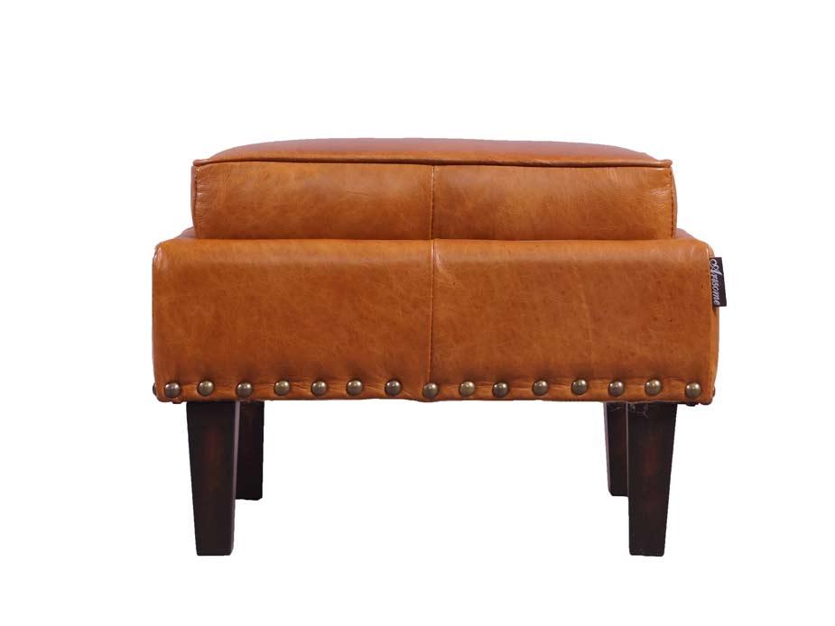 cincinnati cb fu hocker hellbraun vintage leder hocker. Black Bedroom Furniture Sets. Home Design Ideas
