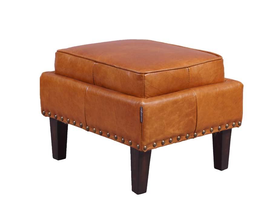 cincinnati cb fu hocker hellbraun vintage leder hocker lederhocker m bel repro ebay. Black Bedroom Furniture Sets. Home Design Ideas