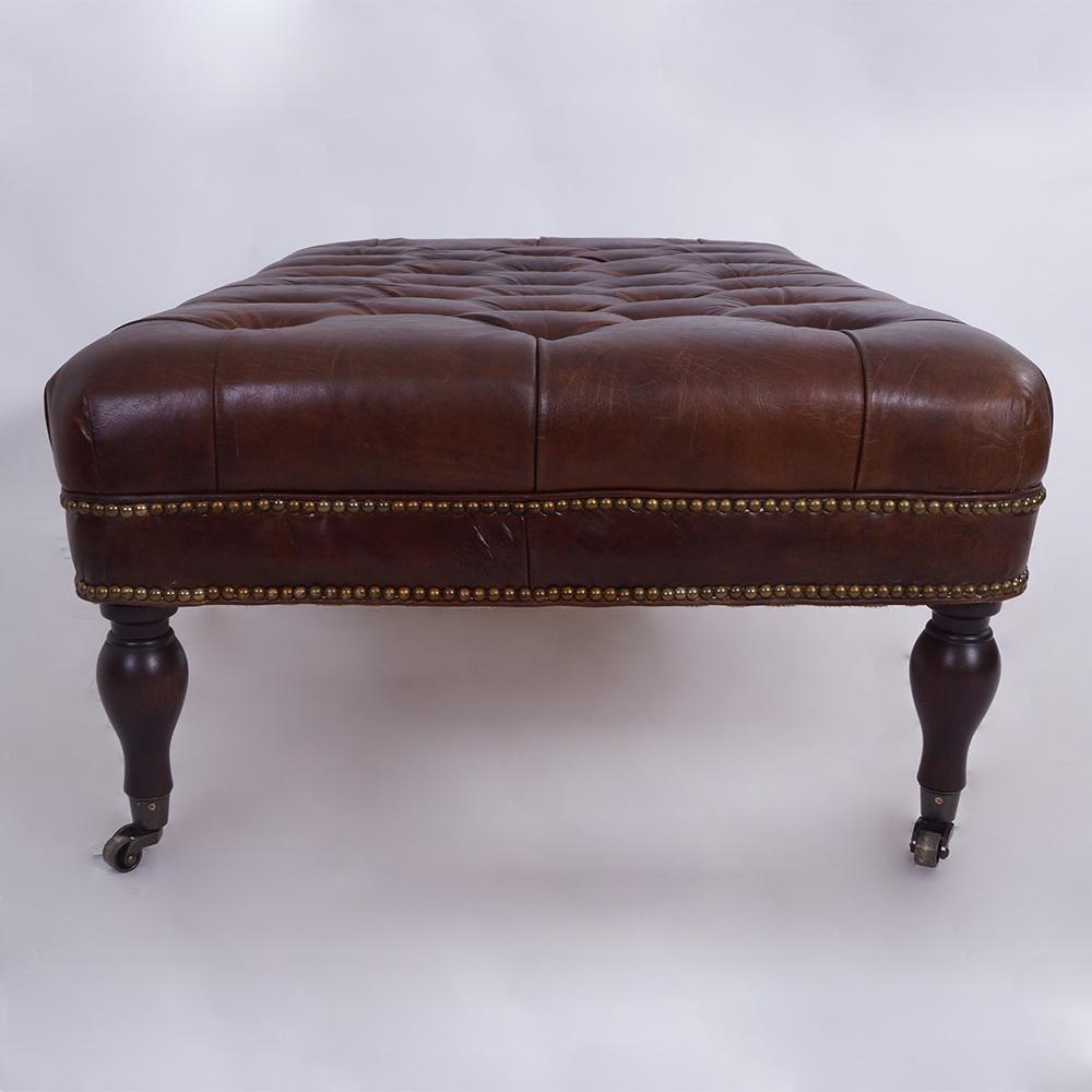 ottomane pristol fu hocker leder vintage cigar hocker. Black Bedroom Furniture Sets. Home Design Ideas