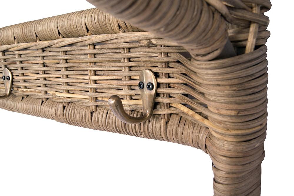 garderobe naturrattan 100cm 3 haken wandgarderobe h ngegarderobe rattan 634480556148 ebay. Black Bedroom Furniture Sets. Home Design Ideas