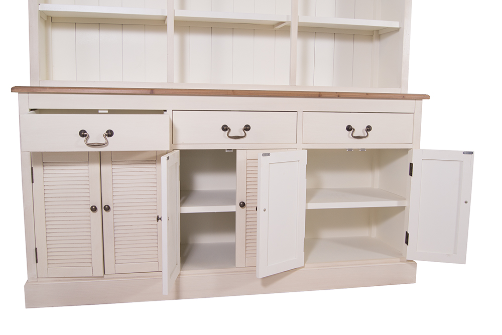buffet schrank bretagne holz creme wei 3 schubladen 3 schr nke montiert ebay. Black Bedroom Furniture Sets. Home Design Ideas