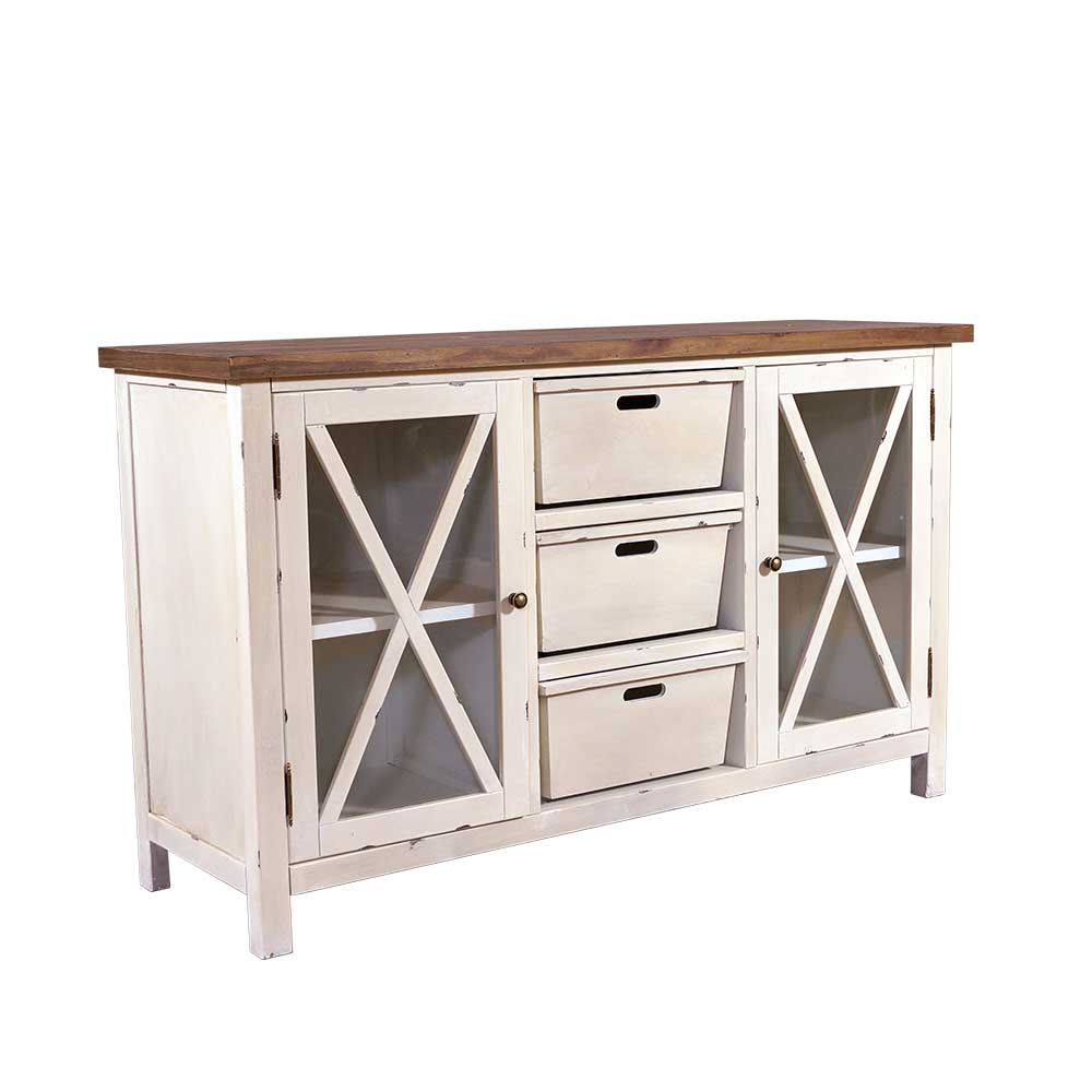 sideboard loire holz landhaus stil kommode schrank creme wei ebay. Black Bedroom Furniture Sets. Home Design Ideas
