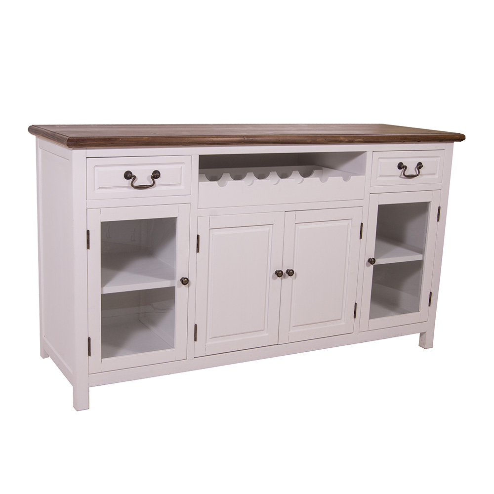 sideboard mit weinfach varde holz landhaus stil kommode schrank creme wei 634480553765 ebay. Black Bedroom Furniture Sets. Home Design Ideas