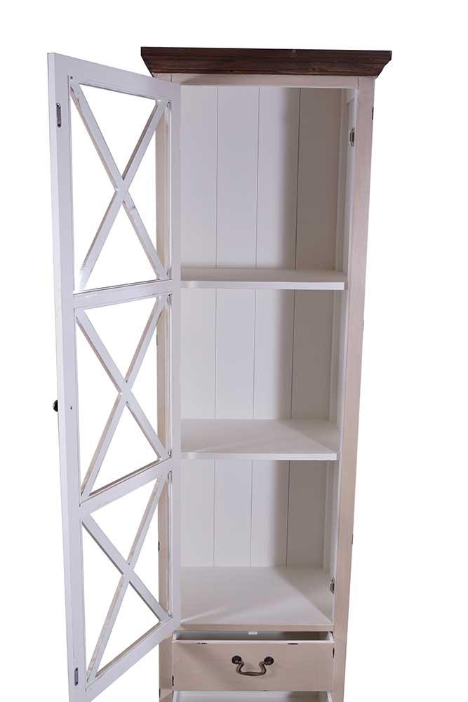vitrine kommode paris schrank holz regal highboard creme wei landhaus fach glas ebay