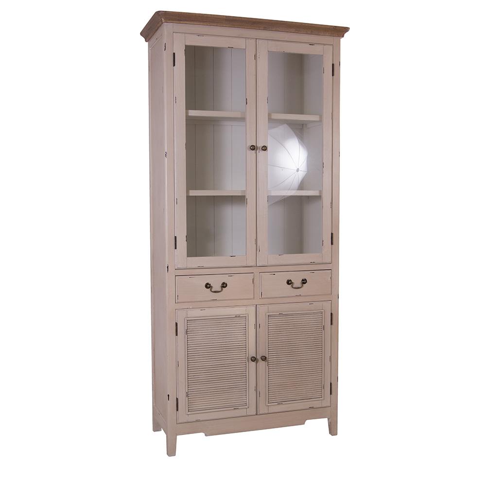 vitrinenschrank linde holz glas landhaus stil vintage look vitrine creme buffet ebay. Black Bedroom Furniture Sets. Home Design Ideas