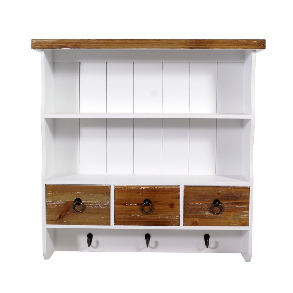 wandgarderobe trio landhaus stil 3 kleiderhaken holz vintage look wei ebay. Black Bedroom Furniture Sets. Home Design Ideas