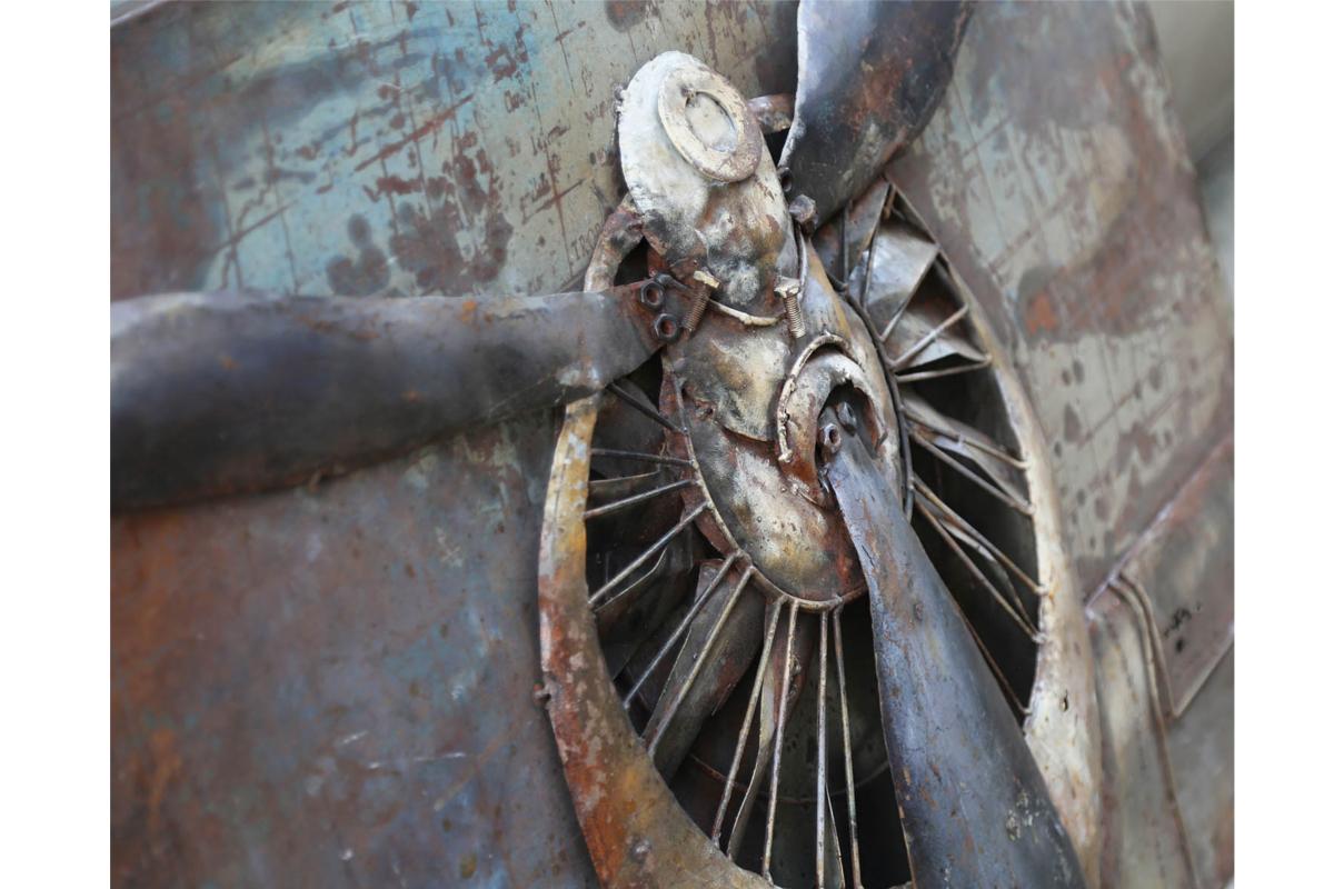Wohnideen Nindorf handgefertigtes metallbild propeller ca 120x80 cm kunst bild 3d