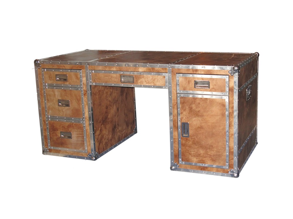 design schreibtisch hoy aluminium office vintage leder look braun rustikal b ro ebay. Black Bedroom Furniture Sets. Home Design Ideas