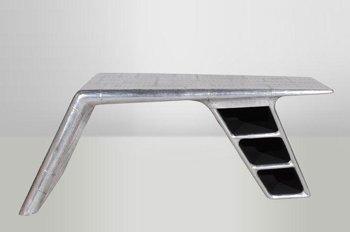 Schreibtisch planetable 3 f cher aluminium vintage look for Schreibtisch vintage look
