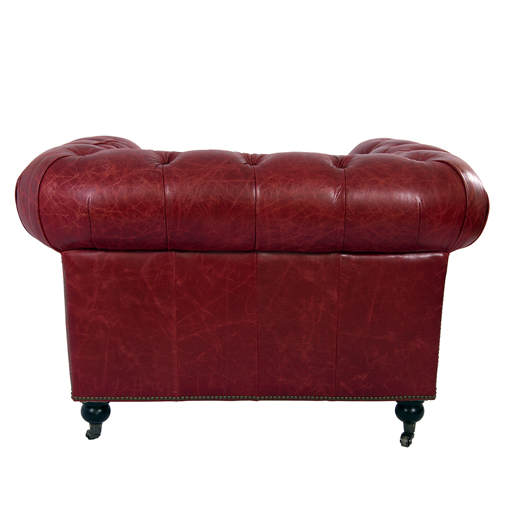 clubsessel chesterfield vintage leder royal rouge