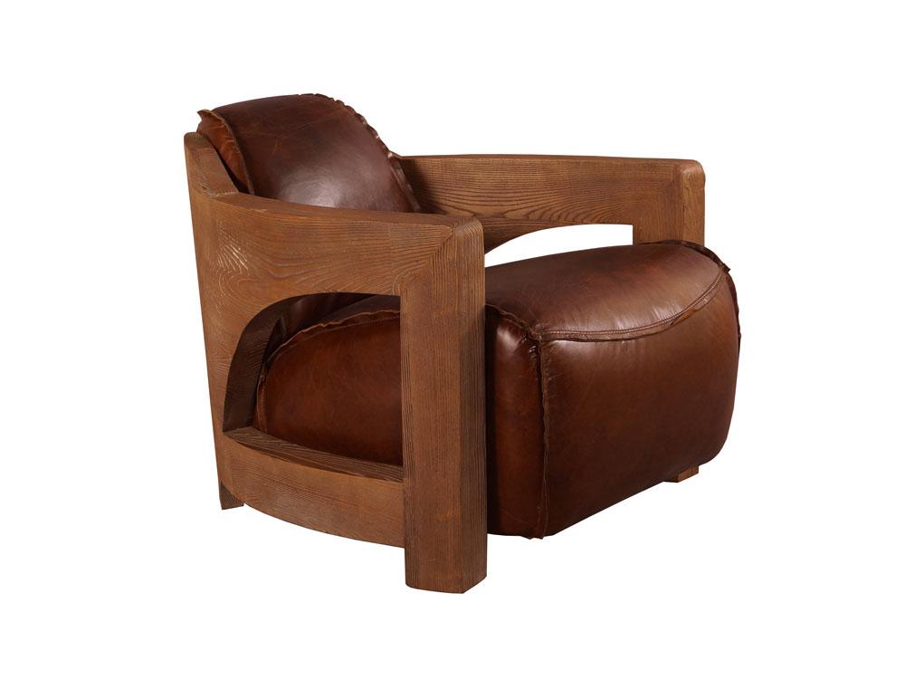Design Clubsessel Clifford Special Braun Vintage Leder Holz Sessel
