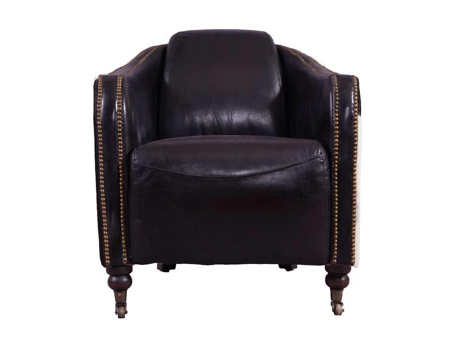 Design Clubsessel Dallas schwarz Vintage Leder Kuhfell