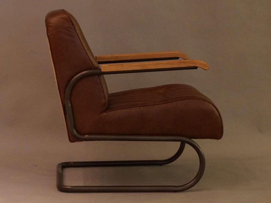 freischwinger sessel lampeter braun vintage leder stahlrohr sessel ledersessel ebay. Black Bedroom Furniture Sets. Home Design Ideas