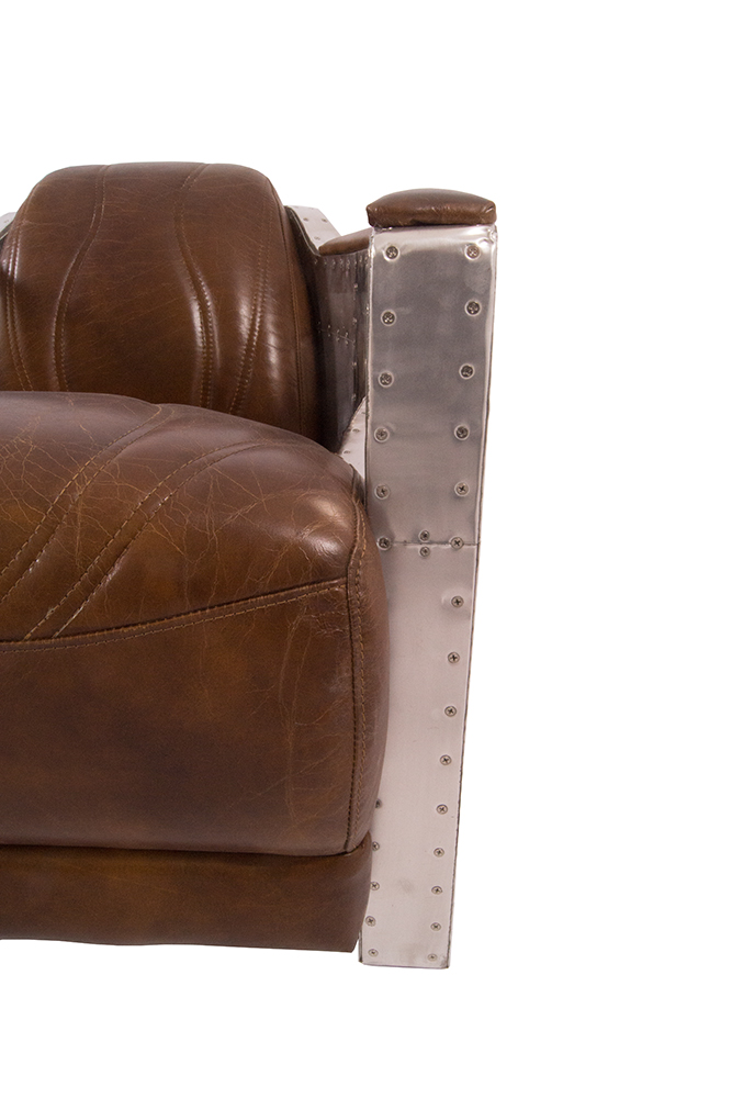 designsessel nash leder vintage cigar aluminium clubsessel. Black Bedroom Furniture Sets. Home Design Ideas