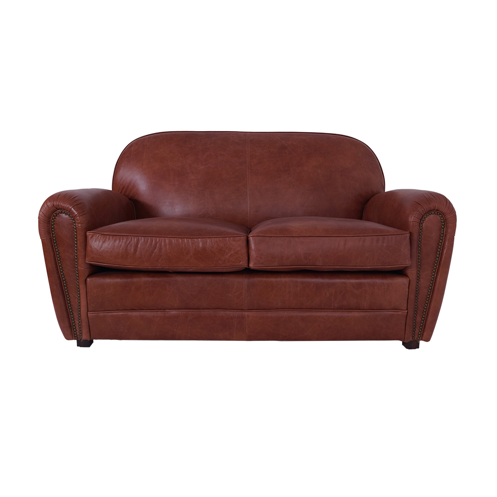calais sofa 2 sitzer mocca brown leder m bel ledersofa clubsofa couch ebay. Black Bedroom Furniture Sets. Home Design Ideas
