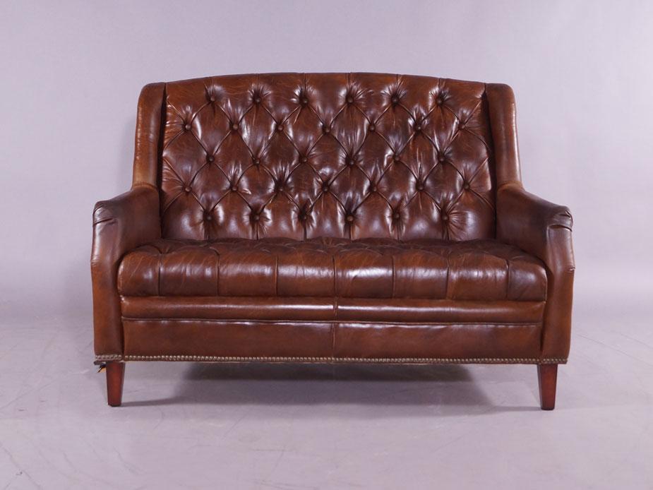ledersofa sofa 2 sitzer cardiff vintage leder m bel stil couch 6149659778442 ebay. Black Bedroom Furniture Sets. Home Design Ideas