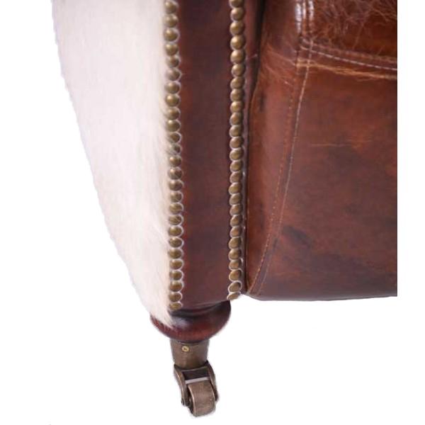 Wohnideen Nindorf vintage leder design dreisitzer sofa chesterfield antik luxus braun