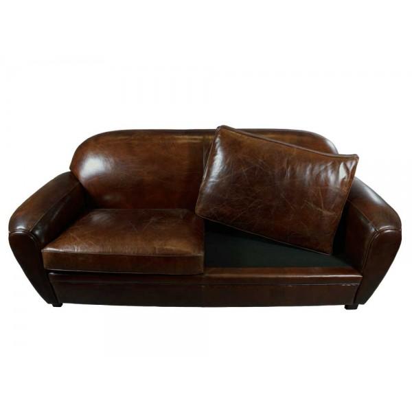 art deco sofa 3 sitzer vintage cigar leder m bel ledersofa clubsofa couch ebay. Black Bedroom Furniture Sets. Home Design Ideas