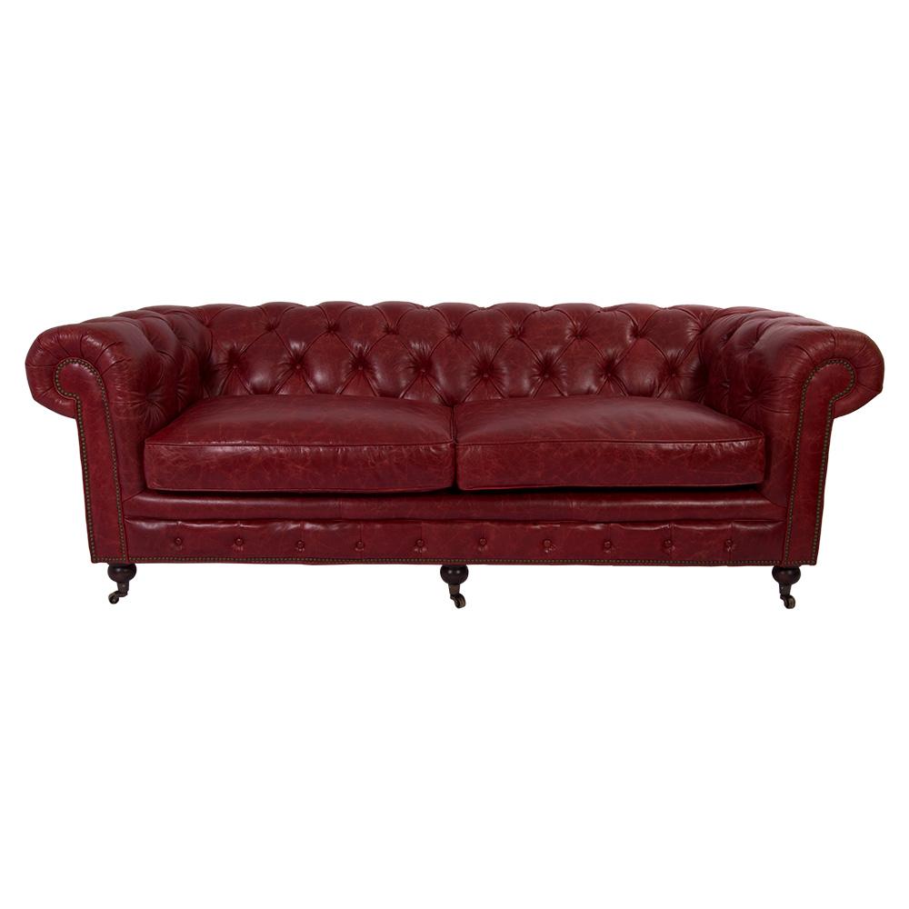 vintage leder design dreisitzer sofa chesterfield antik luxus rot ebay. Black Bedroom Furniture Sets. Home Design Ideas