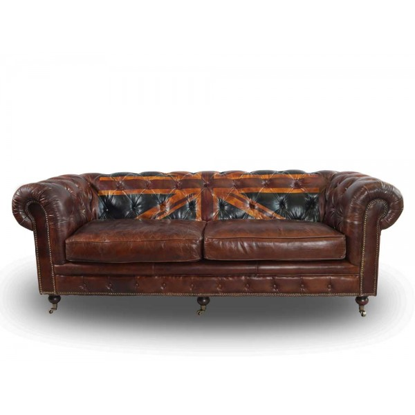 Vintage echtleder chesterfield sofa union jack ledersofa 3 for Sofa verstellbare sitztiefe