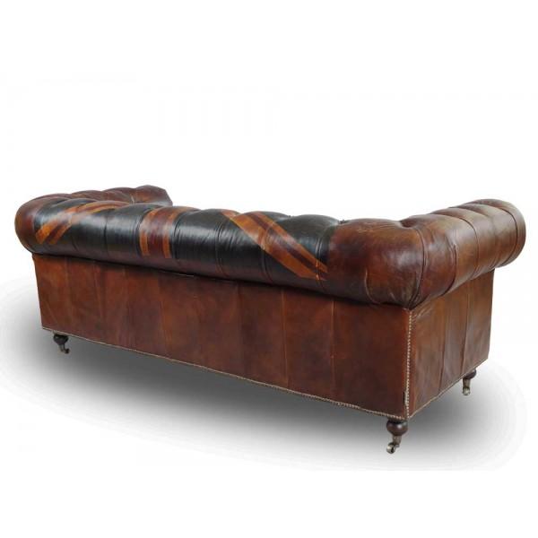 Vintage echtleder chesterfield sofa union jack ledersofa 3 for Couch 3 sitzer