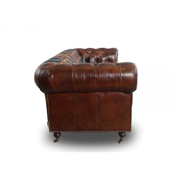 vintage echtleder chesterfield sofa union jack ledersofa 3 sitzer vintage cigar ebay. Black Bedroom Furniture Sets. Home Design Ideas