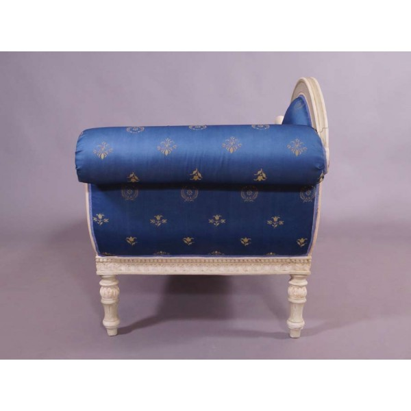 recamiere schwanendekor barock rokoko stilm bel chaiselongue ottomane wei blau ebay. Black Bedroom Furniture Sets. Home Design Ideas