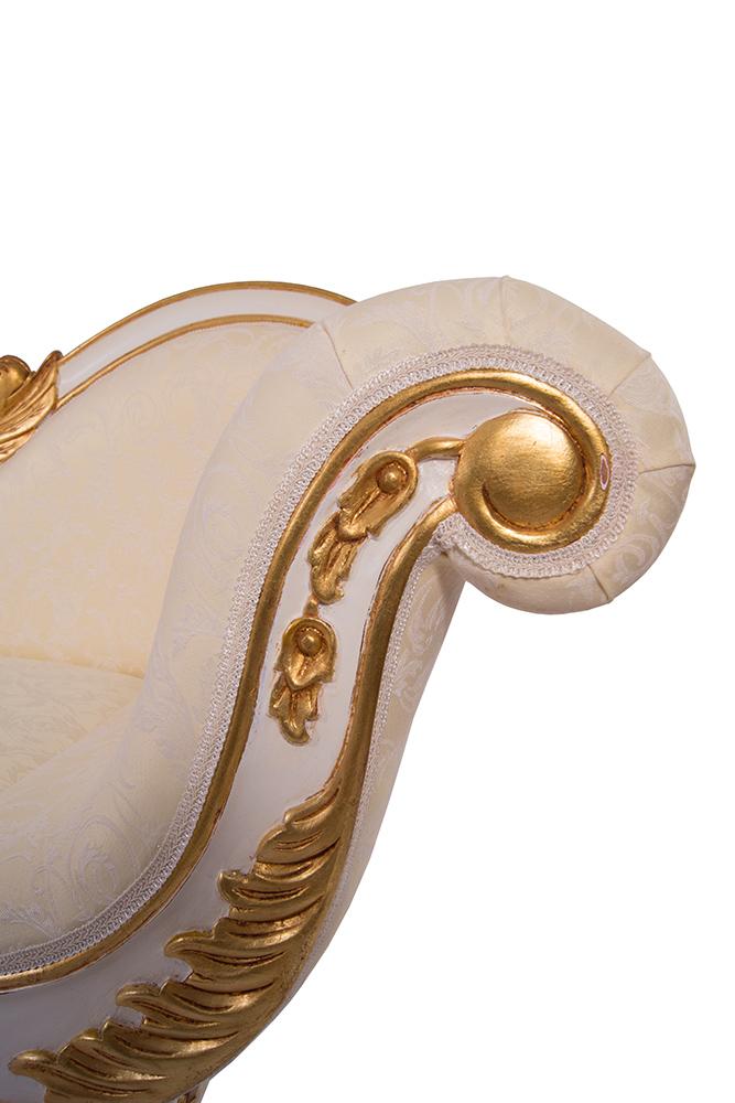 recamiere schwanendekor wei gold ottomane chaiselounge rechts couch ebay. Black Bedroom Furniture Sets. Home Design Ideas