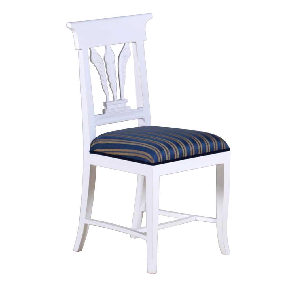 stuhl bl tter mahagoni massiv wei esszimmerstuhl landhausm bel ebay. Black Bedroom Furniture Sets. Home Design Ideas