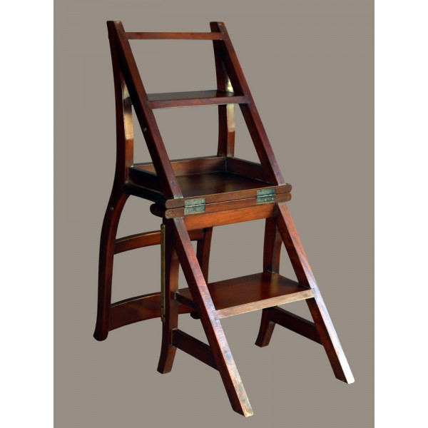 leiterstuhl mahagoni massiv lackiert klappstuhl trittstuhl. Black Bedroom Furniture Sets. Home Design Ideas