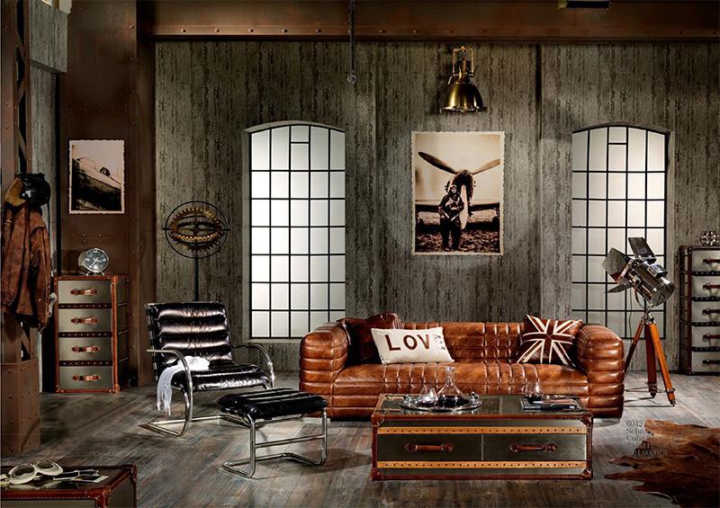 Vintage wohnideen  Castlefield Sofa 3 Sitzer Chesterfield Dark Vintage Leder Möbel ...