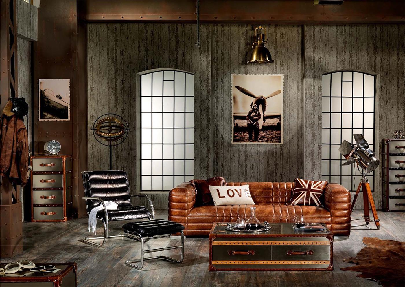 Manitoba Sofa 2 Sitzer Columbia Brown Vintage Leder Möbel Ledersofa